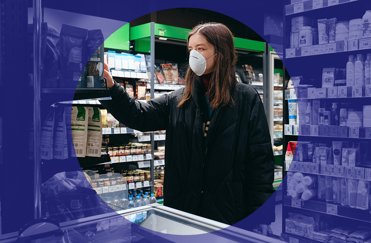 Supermarket shopper with face mask