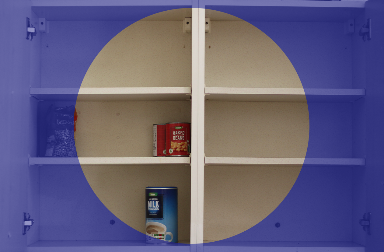 An empty cupboard with only tins of beans
